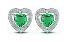 Emerald Earrings 18ct Gold on 925 Silver Hallmarked CZ Heart Wife Mum Love Gift