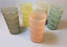 Lot Set of 5 Vintage MidCentury Tumblers Swirl Glasses Rubber Coating