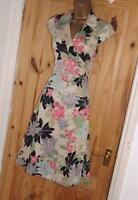 Phase Eight stone black pink floral day or evening party wrap tea dress size 14