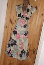 Phase Eight stone black pink floral day or evening party wrap tea dress size 8