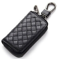 Men Womens Genuine Leather Woven Car Key Wallet Bag Multi Function Case Holder A