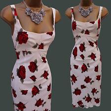 Karen Millen Ivory Vintage Roses Floral Print Cocktail Wiggle Pencil Dress 10 UK