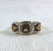 2.01 ct Smoky Topaz & Diamond Rhodium Plated Over Brass Ring  US (7) AU (O)