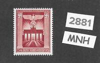 #2881  Very nice MNH stamp Third Reich  Germany 1943 Brandenburg gate Berlin