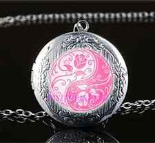 Pink Yin Yang Roses Cabochon Glass Tibet Silver Locket Pendant Necklace
