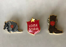 Set Of 3 Vintage Lone Star Beer Lapel Pins-Cowboy Boot, Armadillo, Sign