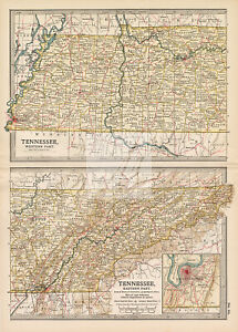 VINTAGE Map of Tennessee, Western Part and Eastern Part #F378