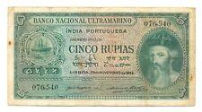 India Portuguesa Banco Nacional Ultramarino 5 Rupias 1945 F/VF #35 Albuquerque a