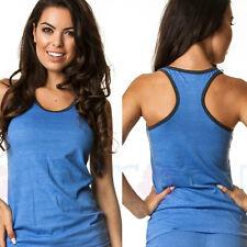 COQUETA fashion sexy womens sport shirt BLUE royal black border fresh TANK TOP