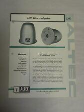 Vintage Original Altec 730C Driver Loudspeaker Speaker Specification Sheet (A3)
