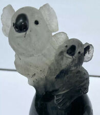 VINTAGE CARVED SIGNED RUTILATED SMOKY QUARTZ KOALA MOM AND BABY SCULPTURE STATUE