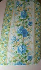 4 Panels Vtg 60s 70s Curtains Drapes Long Blue Gold Floral Sheer Mcm