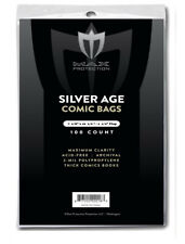 100 MAX PRO SILVER AGE 7-1/8 X 10-1/2 COMIC BOOK STORAGE BAGS SLEEVES ARCHIVAL