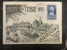 1953 Soissons France Postcard First Day Cover FDC The Arrive Of The Water Car