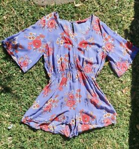 Tigerlily 10 Purple Floral Romper Playsuit Comfortable Rayon Boho gypsy
