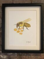 Honey Bee Original Watercolour Painting, Signed Art Not A Print, Gift