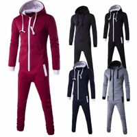 Men Ladies Womens  All IN ONE PIECE Hooded ZIP UP Jumpsuit Playsuit Tracksui