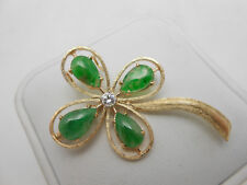 Large Antique 1965 St. Patricks Day 14k Gold Diamond & Jade Clover Brooch Pin
