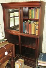 Antique Danner Mahogany Two Section Stacking Bookcase w/ Sliding Glass Doors