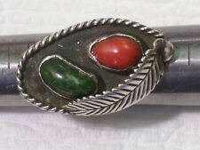 VINTAGE TURQUOISE, CORAL & STERLING SILVER FEATHER RING  size 5 & 3/4