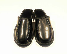 Mens Black Real Leather Slippers *EU HAND MADE PRODUCT*size 11