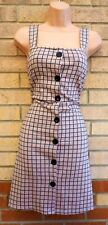 NEW LOOK PINK BLACK CHECK TARTAN ALL BUTTONED PINAFORE A LINE DOLLY DRESS 14 L