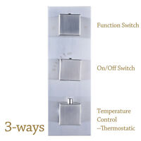 Chrome Brass 3-Way Model Mixer Valve Shower Diverter Thermostatic  Wall Mounted