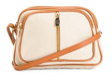 VALENTINA Beige Genuine Leather Crossbody Handbag Purse Made In Italy MSRP $179