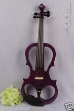 New 16'' Electric Viola Silent Solid Wood Body Powerful Sound Purple Case Bow
