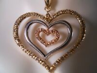 10K YELLOW GOLD WHITE ROSE GOLD FLOATING DIAMOND OPEN HEARTS NECKLACE PENDANT