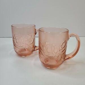 "Arcoroc Rose Flower Pink Glass Coffee Tea Mug Cup, France Lot Of 2 4"""