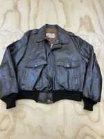 VTG SEARS THE LEATHER SHOP MEN SZ 44 INSULATED BROWN LEATHER BOMBER JACKET EUC