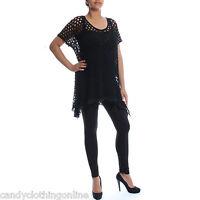 New Womens Ladies Baggy Mesh Crochet Waterfall Drape Hanky Hem Top Plus Size