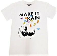 MONOPOLY Make It Rain UNCLE PENNYBAGS MR MONOPOLY t shirt white LARGE NEW