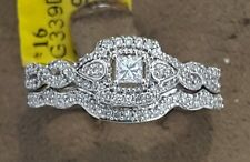 White Gold Halo Vintage Round Diamond Wedding Bridal Ring Engagement Band Set