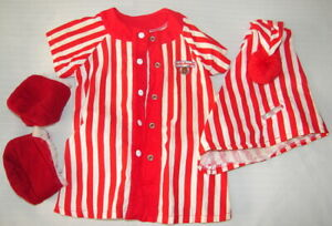 TEDDY RUXPIN'S WORLD OF WONDER RED STRIPED PJ'S, HAT AND BOOTS CLOTHES AS IS