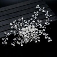 Wedding Party Pins Crystal Hair Comb Flower Headdress Head Clip Bride Headpiece