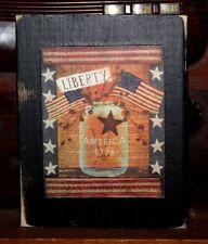 Patriotic Flag Mason Jar Primitive Rustic Wooden Sign Block Shelf Sitter 3.5X4.5