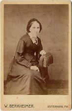 LADY WITH VINTAGE HEAD WRAP W. BERKHEIMER OSTERBURG PA CABINET PHOTO