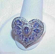 10K Tanzanite Pear 1.50ct Diamond Filigree Ring White Gold New Huge Heart