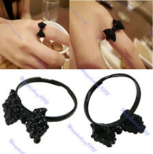 New Lovely Cute Rhinestone Bowknot Crystal Black Bow Tie Adjustable Ring
