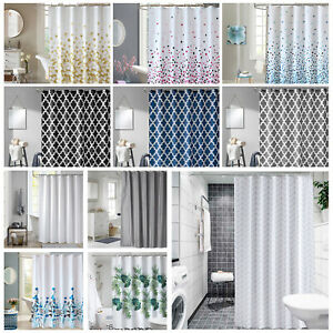 Fabric Bathroom Shower Curtain Extra Long & Wide In 2 Sizes Different Patterns