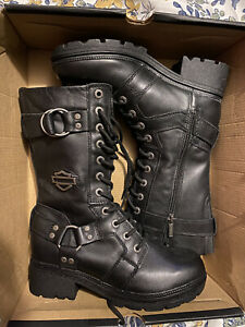 Women's Harley-Davidson Black Leather 9 Inch Boots Size 8M
