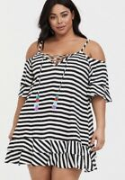 Womens Torrid BLACK & WHITE STRIPE DRESS SWIM COVER-UP 00 10 Medium NWT