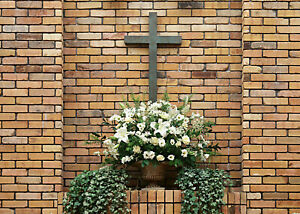 Christian Cross White Flowers Brick Wall 7x5ft Vinyl Backdrop Photo Background