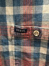 Vtg 90's Guess Plaid Button Shirt~XL(Large)~Medium Heavy Cotton~Made In The USA
