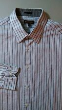 BEN SHERMAN Dress Shirt Size XL ( 17 - 34/35 ) Brown White Stripe pattern