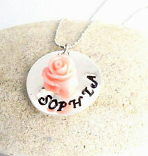 Personalized Flower Girl Handstamped Name Necklace with beautiful flower pendant