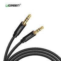 Cable audio estereo mini Jack 3,5mm doble macho auxiliar nylon UGREEN negro