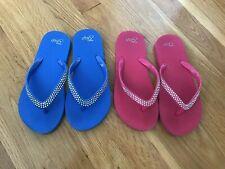 Lot Of 2 Gap Flip Flops GIRLS Youth Size 1 2 Pink Blue Jewel Rhinestone